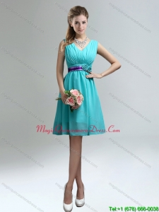 Affordable V Neck Ruching Dama Dresses with Belt for Sale