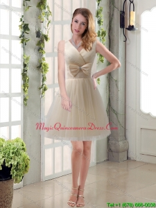 New Arrival Champagne Bowknot Princess Dama Dresses with V Neck