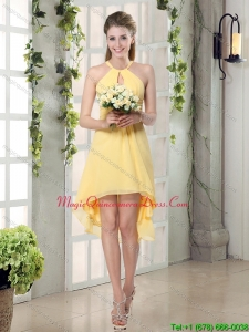 New Arrival Halter Top Asymmetrical Dama Dresses