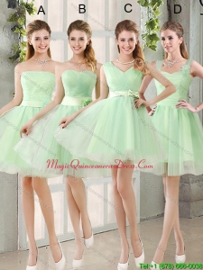 New Arrival Ruching Organza A Line Mini Length Dama Dresses with Lace Up