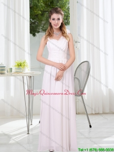 Affordable 2015 White Empire Ruching Asymmetrical Dama Dresses