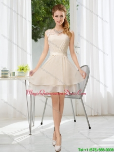 Affordable Bateau Belt Mini Length Dama Dresses with Lace Up