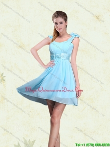 New Arrival A Line Straps Dama Dresses with Ruching and Bowknot