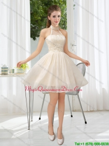 New Arrival Halter Appliques Lace Up Dama Dresses in Champagne