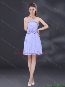 New Arrival Lavender A Line Strapless Dama Dresses with Bowkno