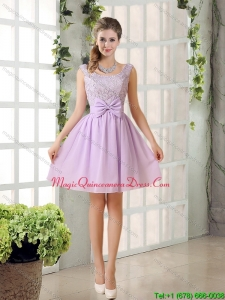 2015 Discount Chiffon A Line Dama Dresses with Bowknot