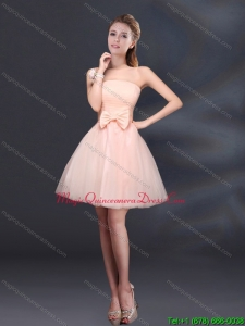 Discount 2015 Bowknot A Line Strapless Dama Dresses with Lace Up
