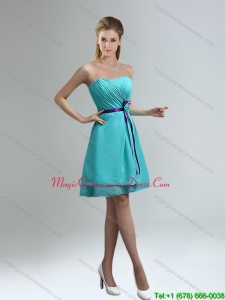 Discount Blue And Purple Sweetheart Dama Dresses with Ruches