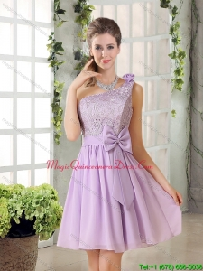 Discount One Shoulder Lilac Dama Dresses with Bowknot for 2015