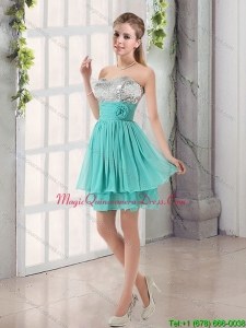 Discount Sweetheart A Line Dama Dresses with Sequins and Handle Made Flowers