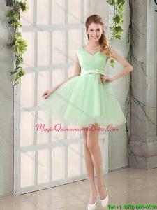 2015 Discount Organza A Line Belt Dama Dresses