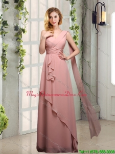 Discount One Shoulder Empire 2015 Dama Dresses with Ruching