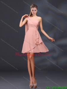 Discount 2015 One Shoulder Ruching Peach Chiffon Dama Dresses