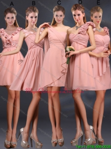 Discount 2015 Ruching Chiffon Dama Dresses in Peach