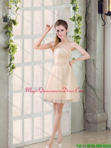 Discount Sweetheart A Line Appliques Champagne Dama Dresses for 2015