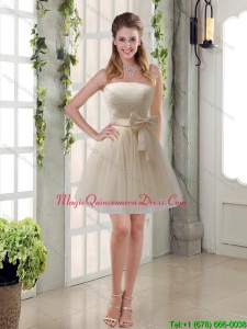 New Arrival Ruching Strapless Princess Dama Dress with Bowknot