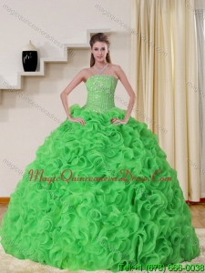 2015 Cheap Strapless Spring Green Quinceanera Dress with Beading and Ruffles
