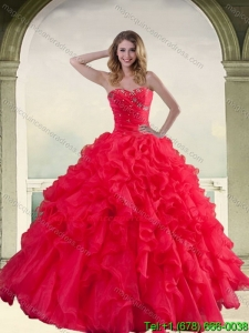 2015 Elegant Red Strapless Quinceanera Dress with Ruffles and Beading