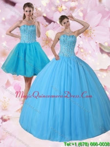 2015 Gorgeous Detachable Baby Blue Strapless Quinceanera Dress with Beading