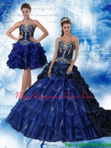 2015 Navy Blue Sweetheart Quinceanera Dress with Ruffles and Embroidery