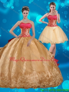 2015 Strapless Multi Color Quinceanera Dress with Beading and Embroidery