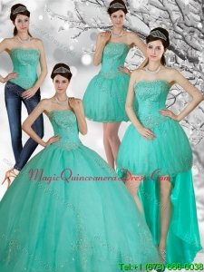 Appliques and Beading Strapless Sweet 15 Dress in Apple Green for 2015