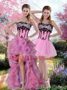 Detachable High Low Zebra Printed Quinceanera Dresses with Pick Ups and Appliques