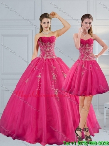 Detachable Sweetheart Hot Pink Quinceanera Dress with Appliques and Beading