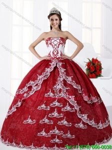 Multi Color Strapless Quinceanera Dress with Embroidery for 2015