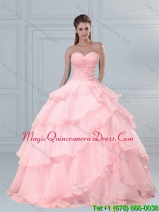 Popular Pink Sweetheart Beading Quinceanera Dresses with Ruffled Layers for 2015