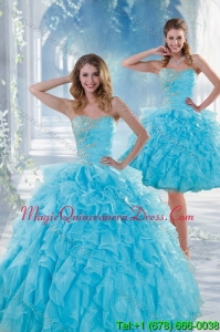 2015 Detachable Baby Blue Sweet 16 Dresses with Beading and Ruffles