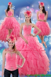 2015 Detachable Rose Pink Strapless Dresses for Quince with Ruffles and Beading