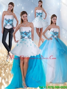 2015 Detachable Strapless Multi Color Quinceanera Dress with Appliques and Beading