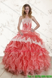 2015 Detachable Strapless Quinceanera Dresses in Watermelon