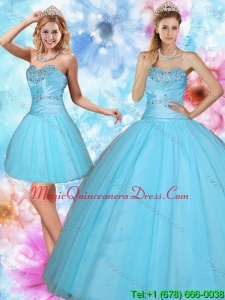 2015 Detachable Sweetheart Beading Quinceanera Dress in Baby Blue