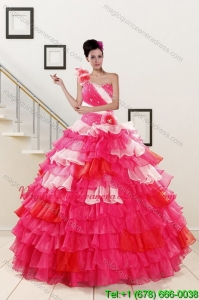 2015 Pretty Ruffled Layers and Beading Multi Color Quinceanera Dresses
