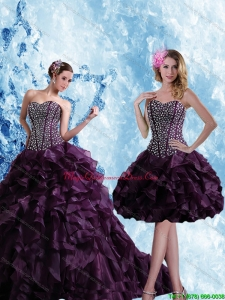 2015 Sweetheart Burgundy Quinceanera Dress with Ruffles and Beading