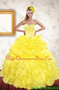 Classical 2015 Yellow Quince Dresses with Beading and Ruffles
