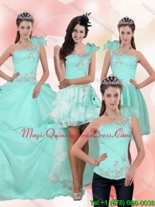 Detachable 2015 Apple Green Quince Dress with Beading and Appliques