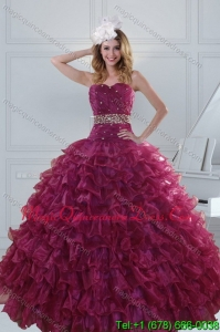 Detachable Beading and Ruffles Quinceanera Dresses in Burgundy