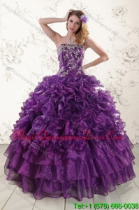 Detachable Purple Strapless Appliques and Ruffles Quince Dresses for 2015