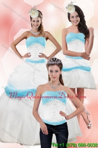 Detachable Strapless White and Baby Blue Quinceanera Dress with Appliques for 2015