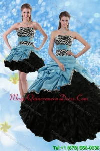 Detachable Zebra Print Multi Color Strapless Quince Dresses with Ruffles and Pick Ups