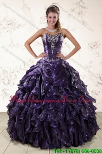 Purple Sweetheart Detachable 2015 Quince Gowns Embroidery and Ruffles
