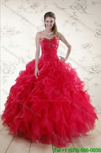 Red 2015 Quince Dresses with Ruffles and Beading