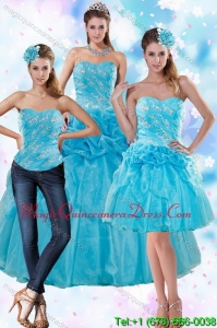 Sophisticated Teal Quince Dresses with Appliques and Pick Ups for 2015