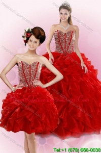 2015 Detachable Red Quince Dresses with Beading and Ruffles