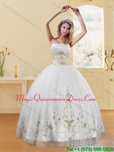 2015 Detachable Strapless Appliques White and Gold Dresses for Quinceanera