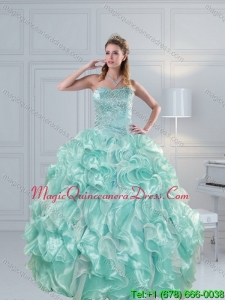 2015 Detachable Strapless Beading Quinceanera Dresses in Aqua Blue