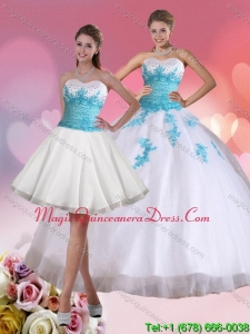 Modern 2015 Beading Sweetheart Quinceanera Dress in White and Blue